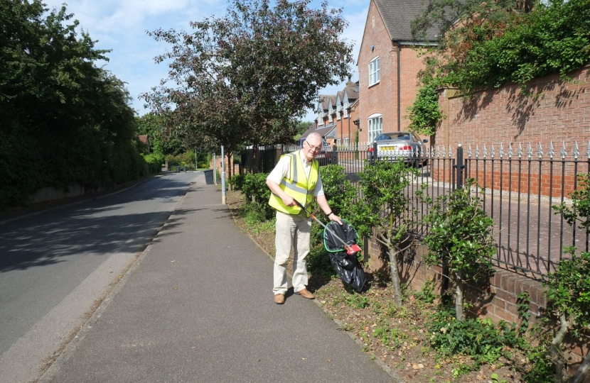 Cllr Stan Rooney out litter picking.