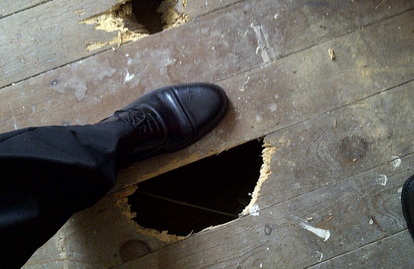 Another tenant says the property was let with this hole in the bedroom floor
