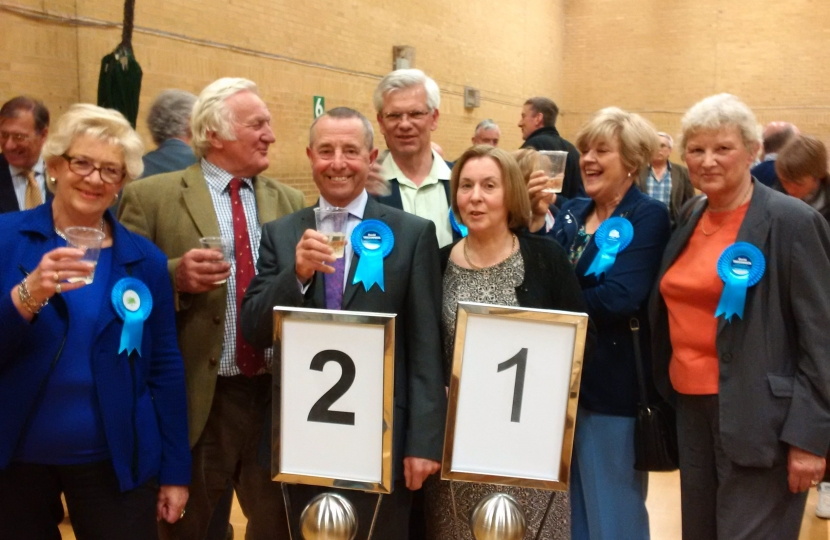 Local Conservatives celebrate taking 21 Borough Council seats.