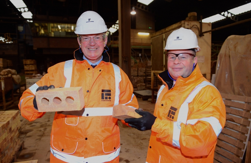 David Tredinnick MP is shown Forterra bricks by Managing Director Steve Harrison