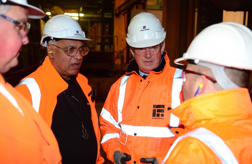 The local MP met with several of the 90 employees at the brickworks in Desford